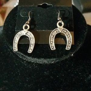 """Felt's Fun Finds Jewelry - Horseshoe Earrings Silver Tone 1"""""""
